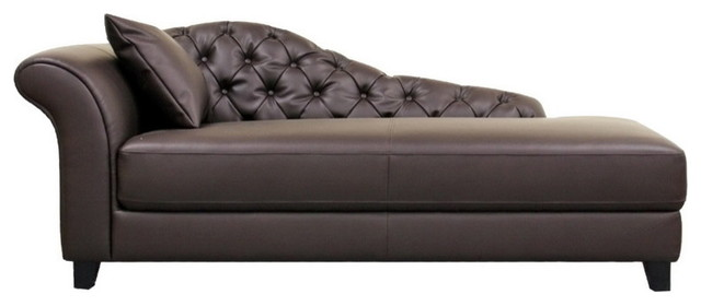 Baxton Studio Josephine Brown Leather Victorian Modern Chaise Lounge Transitional Indoor