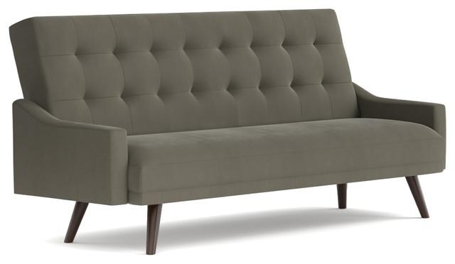 Oak Creek Click Clack Futon Sofa Bed Mink Gray Velvet Midcentury Futons