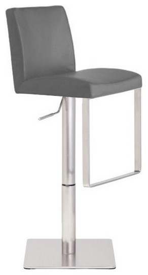 Valencia Leather Adjustable Bar Stool Satin Stainless