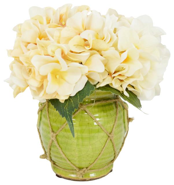 Hydrangeas in Ceramic Vase
