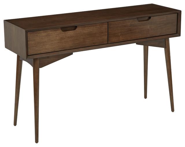 Copenhangen Console Table In Walnut Finish Midcentury