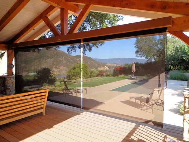 Outdoor Screen Roller Shades Rustic Los Angeles By