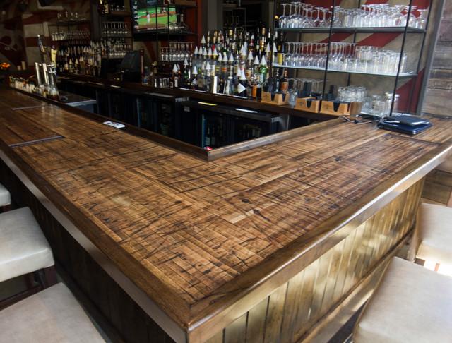 Reclaimed Boxcar Plank Bar Rustic Home Bar