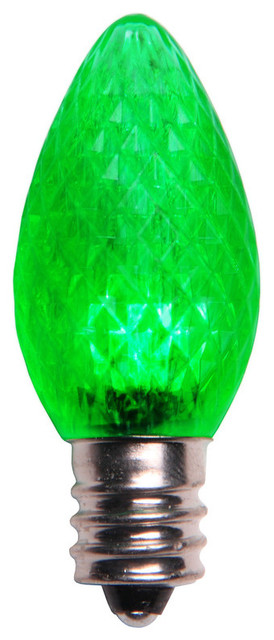 Green Led C7 Christmas Light Bulbs - Pack Of 25.