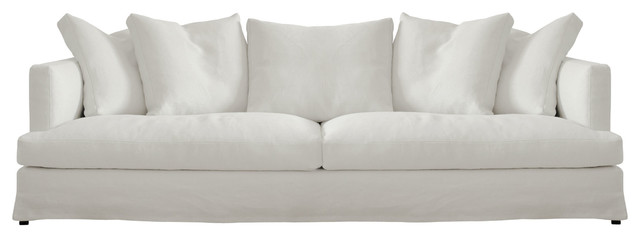 Bradshaw Contemporary Linen Slipcovered White Sofa