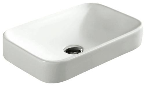 Rectangular White Ceramic Self Rimming Bathroom Sink, No Hole.