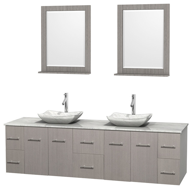 Centra 80 Gray Oak Double Vanity White Carrera Marble Top Sink
