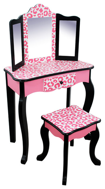 hollywood vanity set with mirror leopard