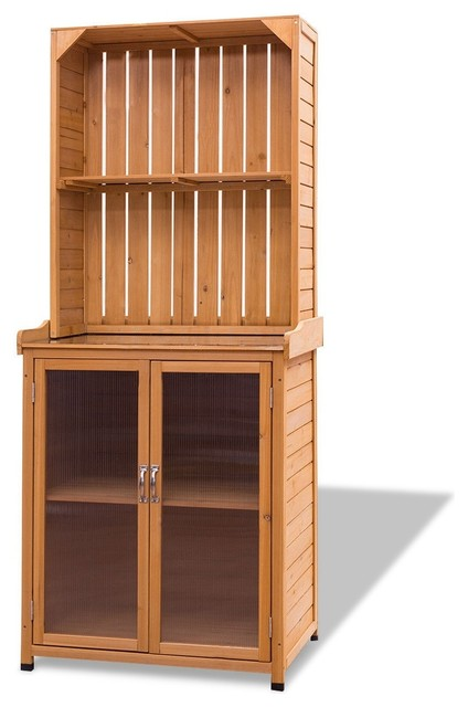 Modern Wooden Potting Bench Outdoor Storage Cabinet.