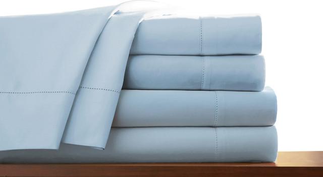 800TC Egyptian Cotton WATERBED SHEET SET Sateen Stripe Light Blue