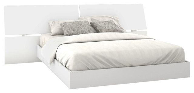 Paris Platform Bed And Panoramic Headboard, White.