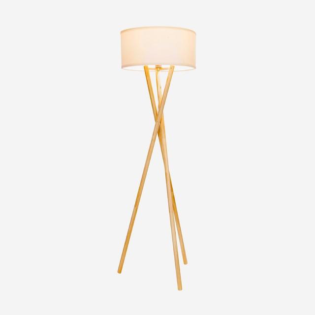 Brightech Harper Wood Tripod LED Floor Lamp