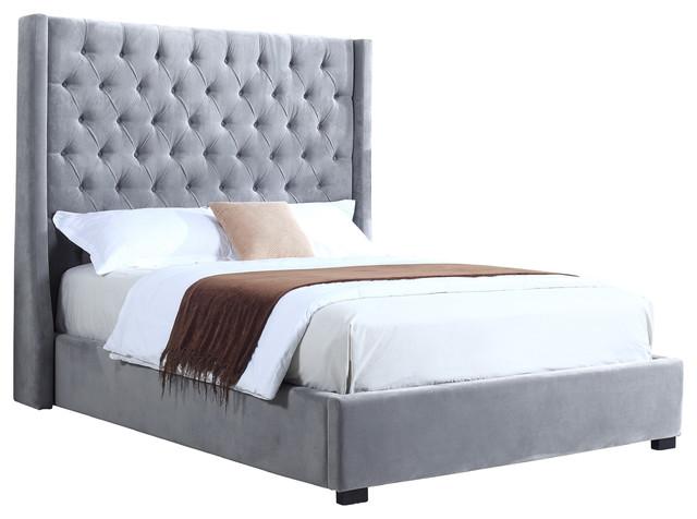 High Profile Light Gray Upholstered Bed, Velvet - Contemporary ...
