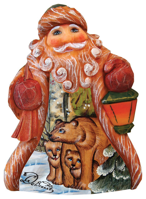 Hand Painted Bear Family Tiny Tale Santa Figurine.