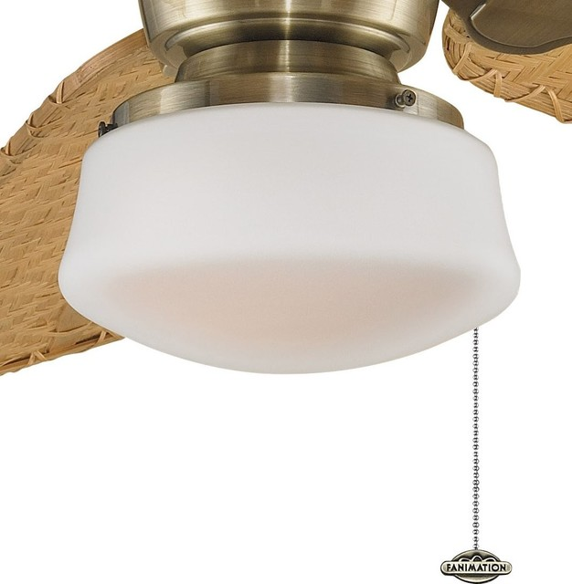 Low Profile Ceiling Fan With Light For Bedroom : Fanimation low profile flared glass ceiling fan light kit