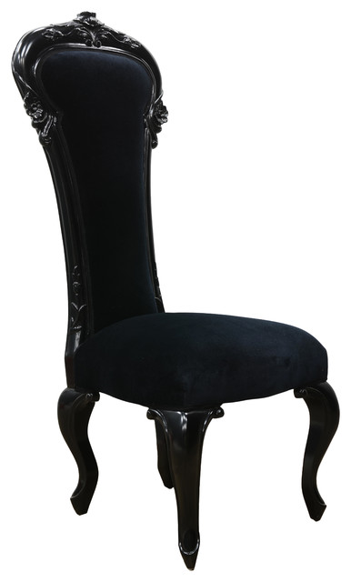 Dauphine High Back Baroque Dining Bedroom Chair Black Lacquer Traditional Chairs