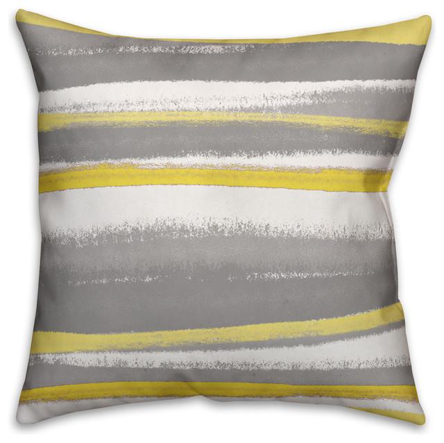 Yellow And Gray Stripes Spun Poly Pillow, 18x18.