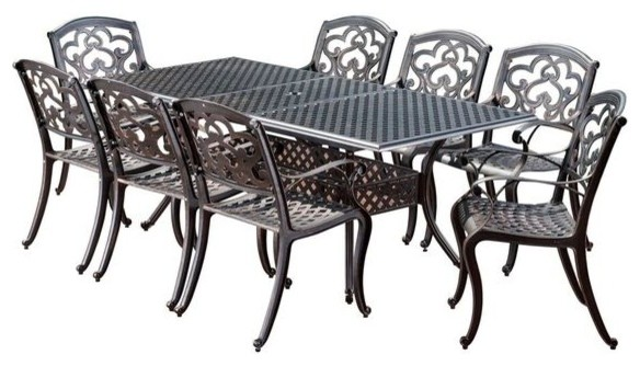 Ariel Outdoor 9 Piece Patina Copper Finish Cast Aluminum Dining Set  Traditional Outdoor Dining
