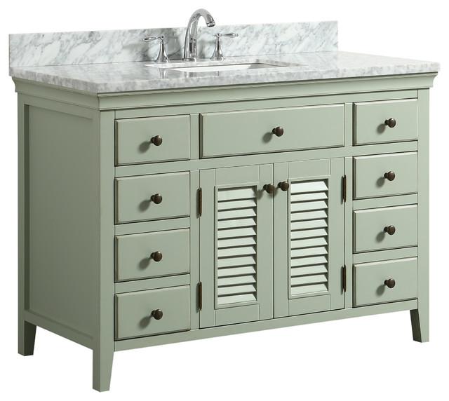 "Callum Green Bathroom Vanity With Carrara Marble Top, 48""."