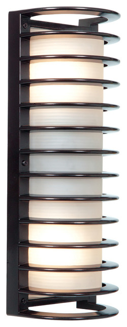 "Bermuda LED Outdoor Bulkhead Wall-Light, 17"", Ribbed Frosted Glass Shade, Bronze"