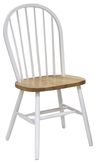 Windsor Wood Side Chair, White Traditional Dining Chairs