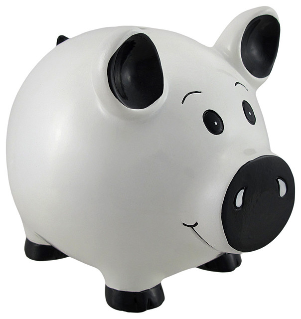 White Piggy Coin Savings Bank Contemporary Banks By Zeckos