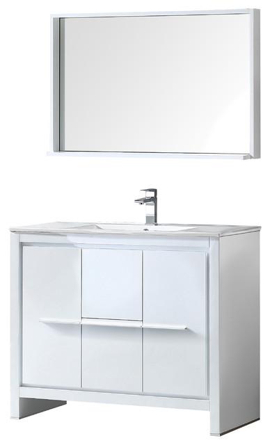 """Fresca Allier 40"""" White Modern Bathroom Vanity With Mirror."""