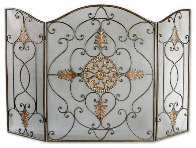 Iron Fireplace Screens egan wrought iron fireplace screen - mediterranean - fireplace