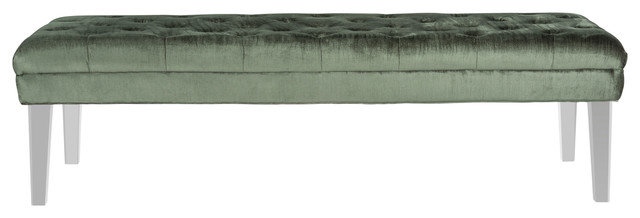 Abrosia Tufted Bench, Gray. -1