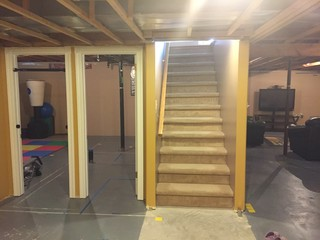 Pocket Door At Bottom Of Basement Stairs
