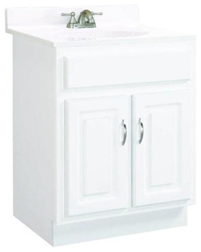 """Concord White Gloss Vanity Cabinet With 2-Doors, 24"""" By 21"""" By 30""""."""