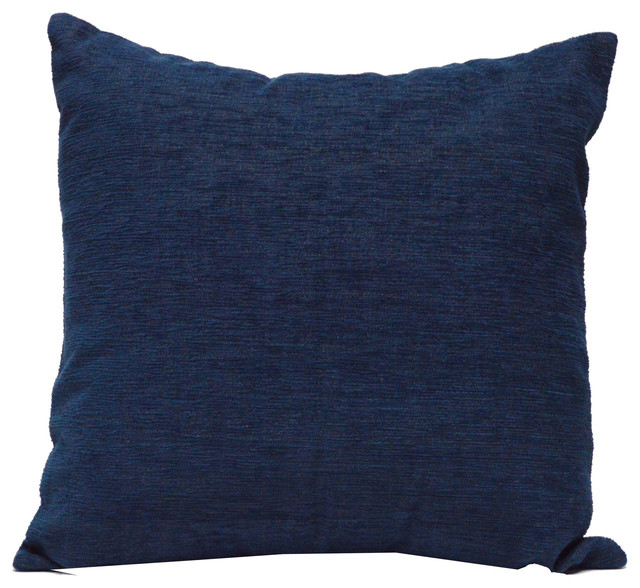 Solid Navy Blue Decorative Pillow : CoCo B. Kitchen & Home - Throw Pillow Chenille Solid Navy & Reviews Houzz