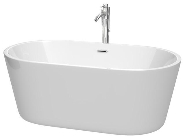 "Carissa 60"" Freestanding Bathtub, White With Faucet, Drain & Overflow Trim."