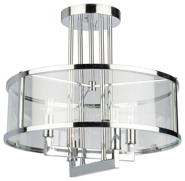 Brinkley 4-Light Semi-Flush Mounts, Chrome.