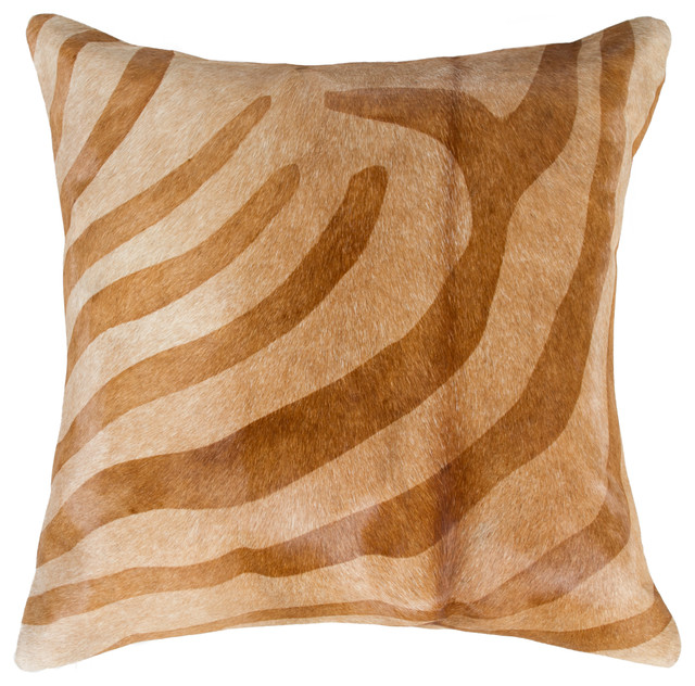 "18""x18"" Torino Zebra Chocolate And Natural Cowhide Pillow."