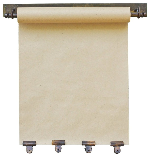"""Hanging Note Roll With Four Antique Brass Clips, 16"""" Wide Memo Craft Paper."""