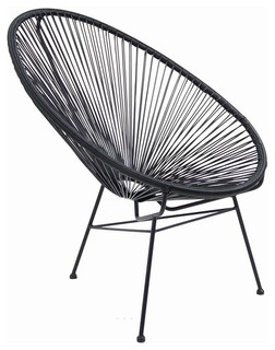 Acapulco Indoor / Outdoor Lounge Chair, Black Weave On Black Frame    Midcentury   Outdoor Lounge Chairs   By Home Craft Decor
