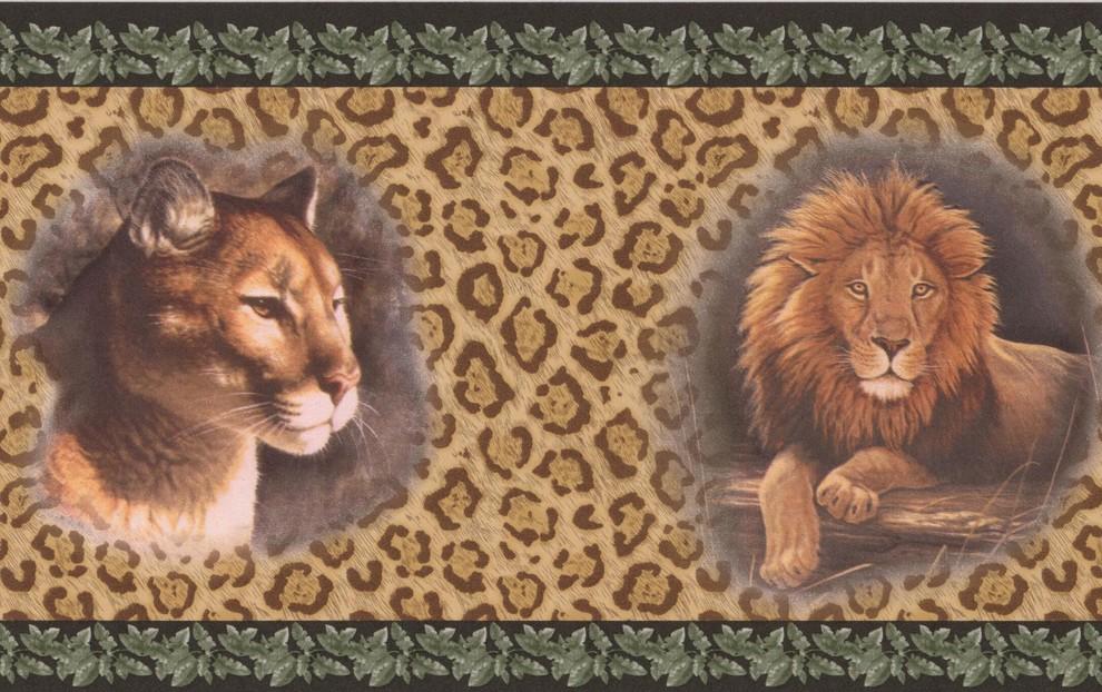 Lion Jaguar Pictures On Leopard Print Wall Beige Animal Wallpaper Border Retro Contemporary Wallpaper By Euro Home Decor
