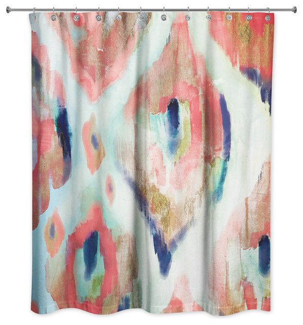 Navy Coral Ikat Shower Curtain Mediterranean Curtains