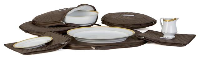 6-Pieces Set Of Fine China Dinnerware Accessory Storage Set, Brown.