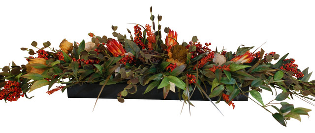 Long Low Floral Centerpiece Rustic Artificial Flower  : rustic artificial flower arrangements from www.houzz.com size 640 x 272 jpeg 61kB