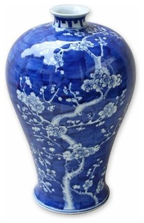 Blue And White Cherry Blossom Vase Asian Vases By