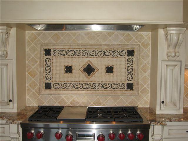 Handcrafted mosaic mural for kitchen backsplash