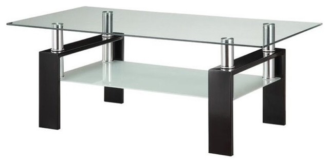 Bowery Hill Glass Top Coffee Table, Black.
