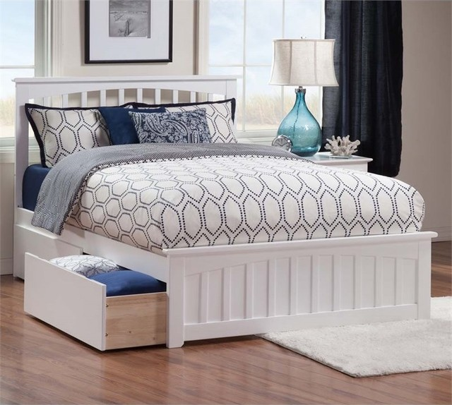 Atlantic Furniture Mission Urban Queen Storage Platform Bed, White.