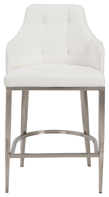 Viby Stainless Steel Bar Stool White Contemporary Bar