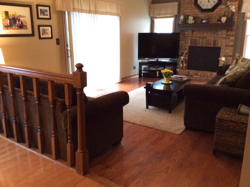 What to do with railing and step down into family room