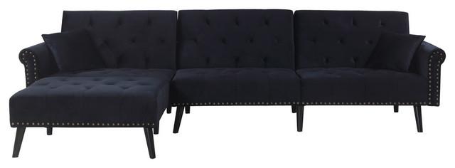 Velvet L Shape Sectional Sleeper Sofa With Reclining Backrest, Black