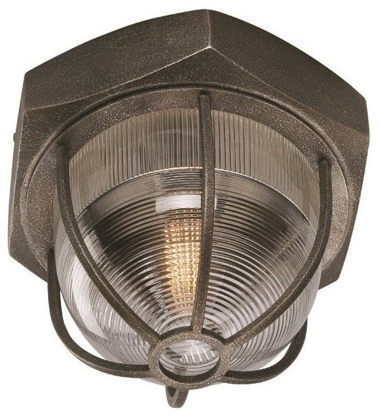 Acme 1 Light Standard Bulb Flush Mount In Aged Silver.
