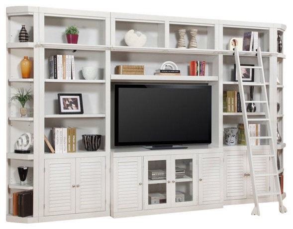 Parker House, Boca Library Wall Entertainment Center Bookcase, Cottage White